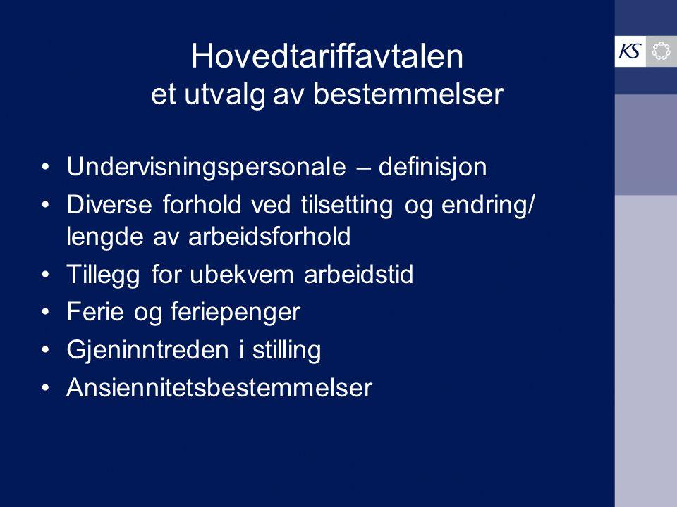 Hovedtariffavtalen et utvalg av bestemmelser