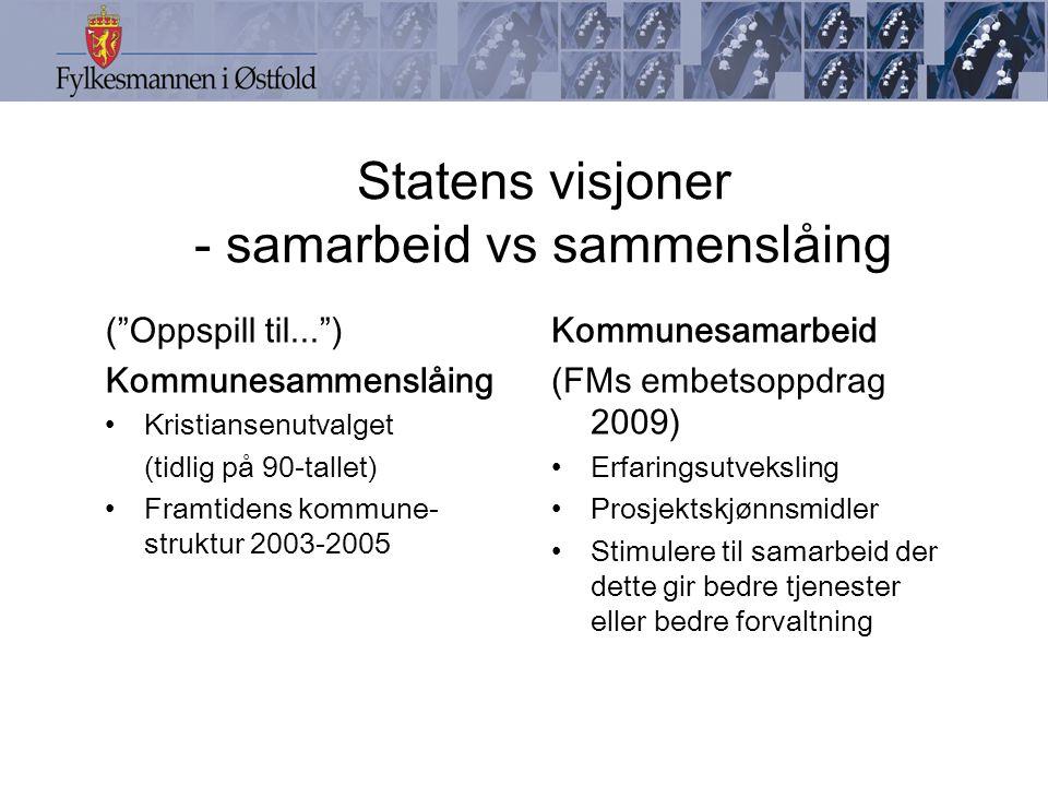 Statens visjoner - samarbeid vs sammenslåing