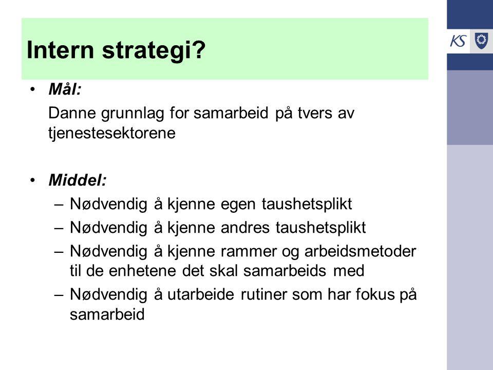 Intern strategi Mål: Danne grunnlag for samarbeid på tvers av tjenestesektorene. Middel: Nødvendig å kjenne egen taushetsplikt.