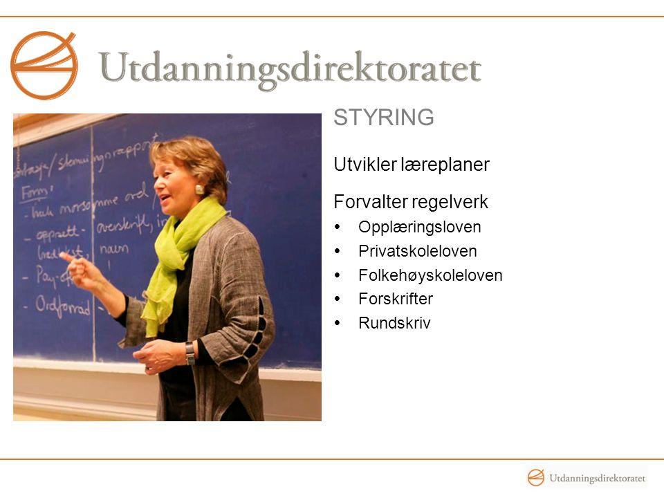 styring Utvikler læreplaner Forvalter regelverk Opplæringsloven