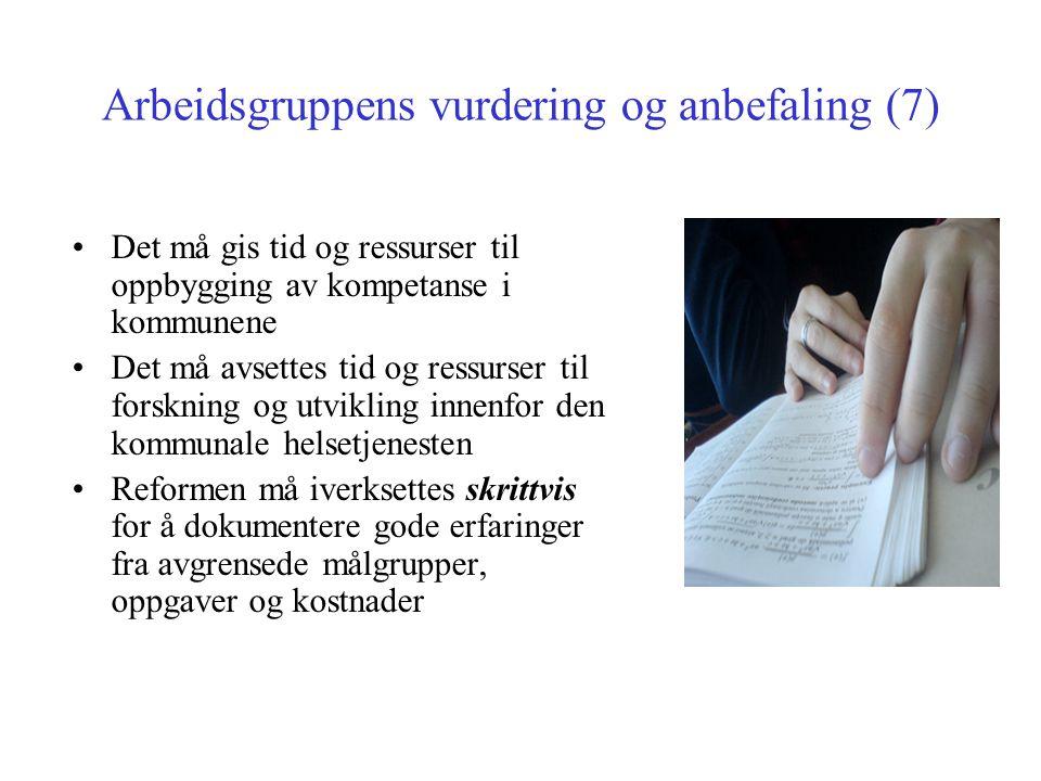 Arbeidsgruppens vurdering og anbefaling (7)