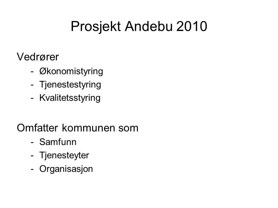 Prosjekt Andebu 2010 Vedrører Omfatter kommunen som Økonomistyring
