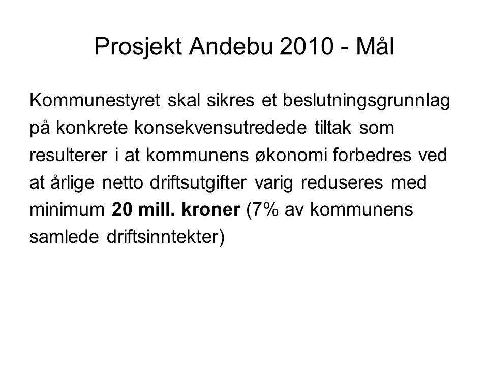 Prosjekt Andebu 2010 - Mål Kommunestyret skal sikres et beslutningsgrunnlag. på konkrete konsekvensutredede tiltak som.