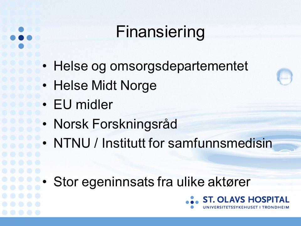 Finansiering Helse og omsorgsdepartementet Helse Midt Norge EU midler
