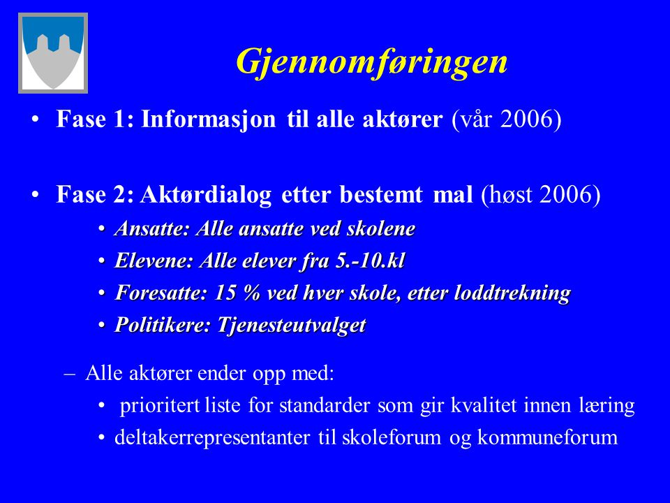 Gjennomføringen Fase 1: Informasjon til alle aktører (vår 2006)