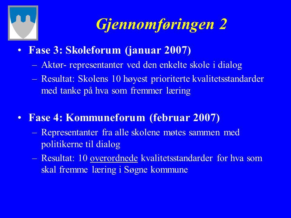 Gjennomføringen 2 Fase 3: Skoleforum (januar 2007)