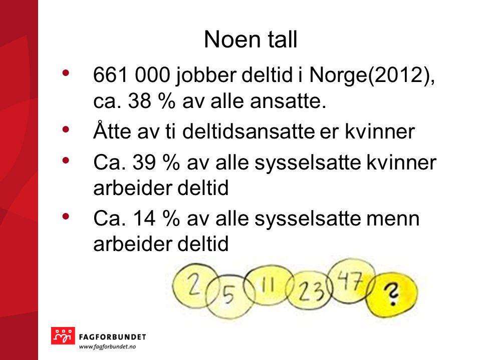 Noen tall 661 000 jobber deltid i Norge(2012), ca. 38 % av alle ansatte. Åtte av ti deltidsansatte er kvinner.