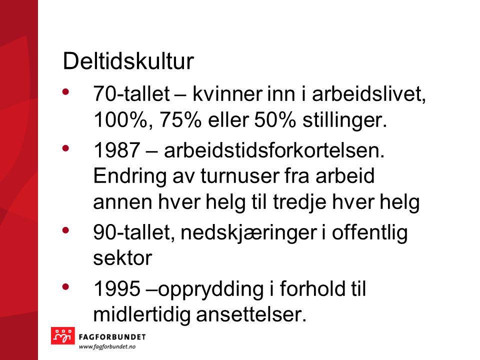 Deltidskultur 70-tallet – kvinner inn i arbeidslivet, 100%, 75% eller 50% stillinger.