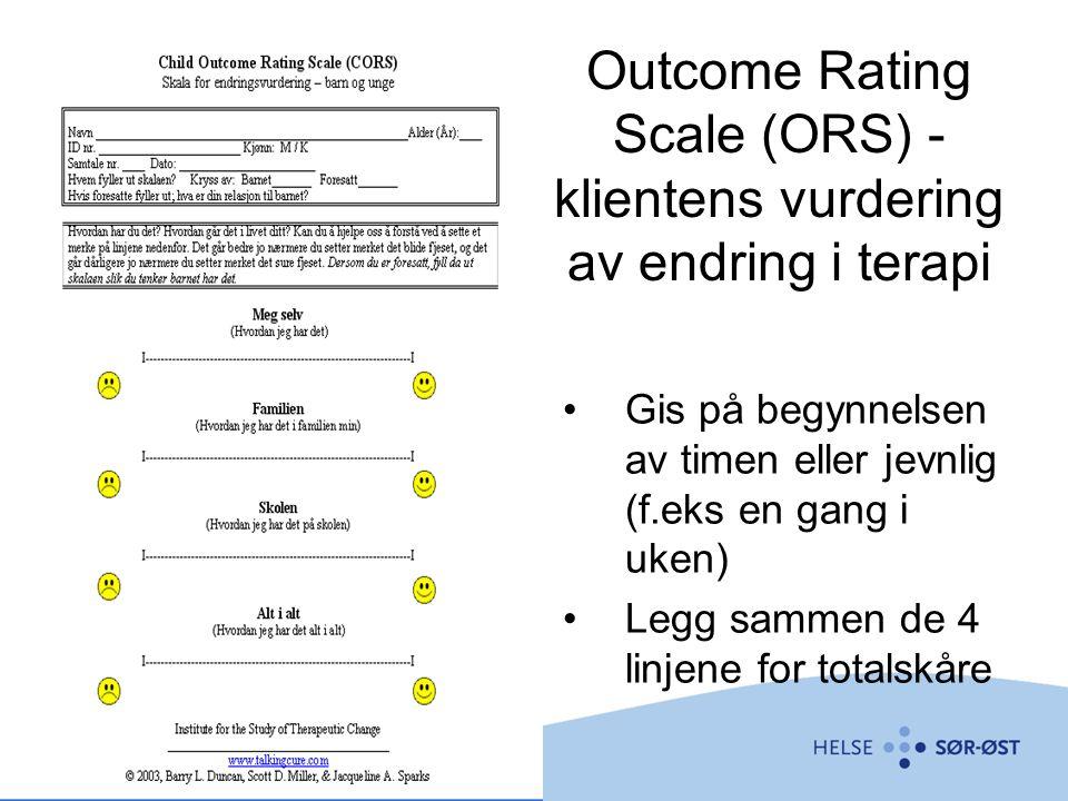 Outcome Rating Scale (ORS) - klientens vurdering av endring i terapi