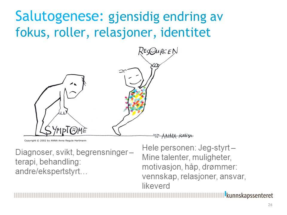 Salutogenese: gjensidig endring av fokus, roller, relasjoner, identitet