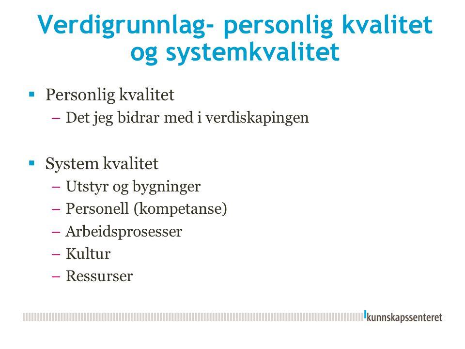 Verdigrunnlag- personlig kvalitet og systemkvalitet