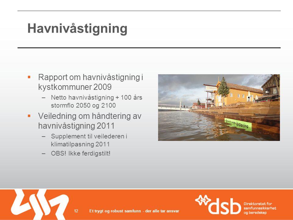 Havnivåstigning Rapport om havnivåstigning i kystkommuner 2009