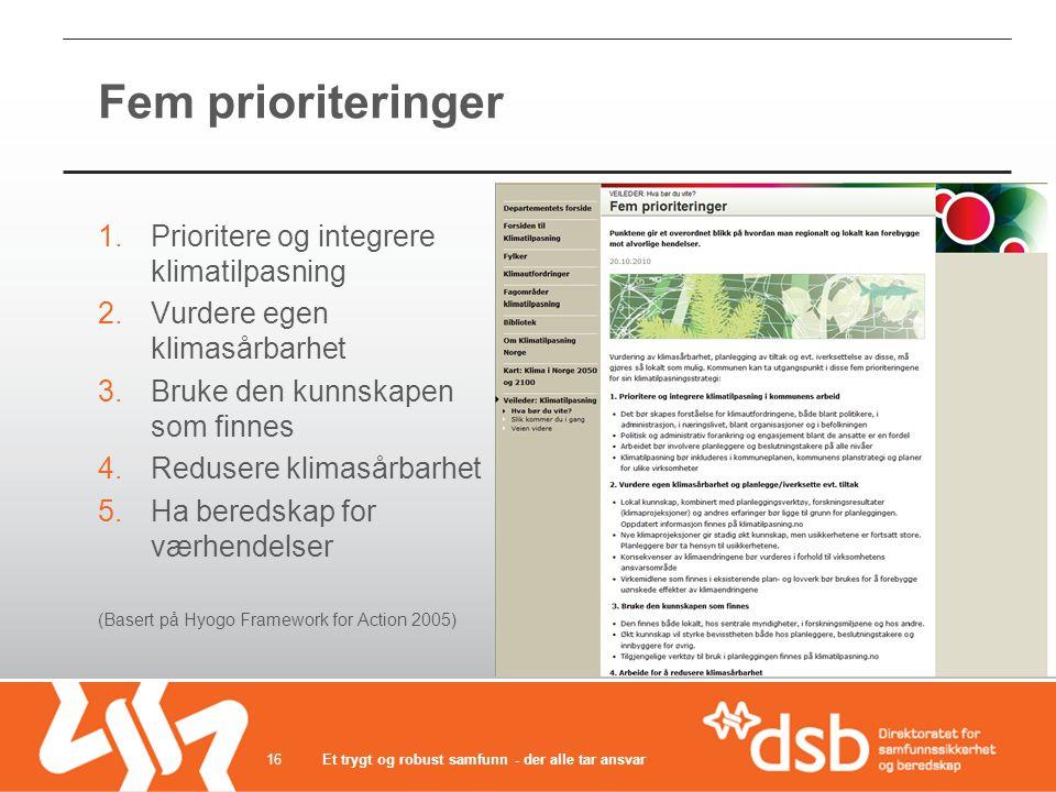 Fem prioriteringer Prioritere og integrere klimatilpasning