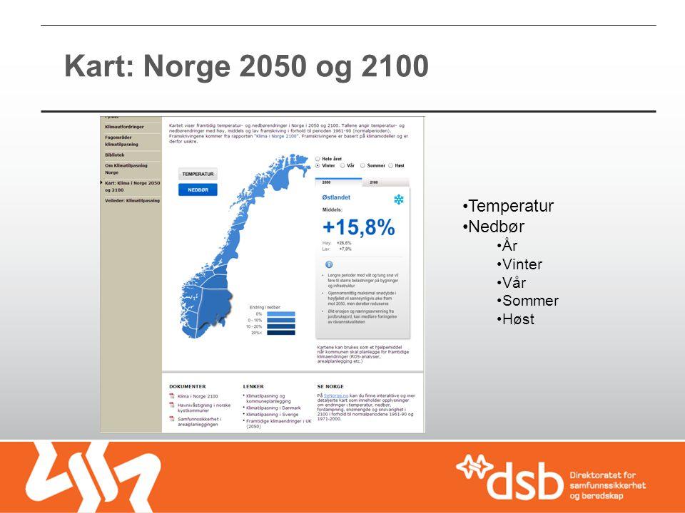 Kart: Norge 2050 og 2100 Temperatur Nedbør År Vinter Vår Sommer Høst
