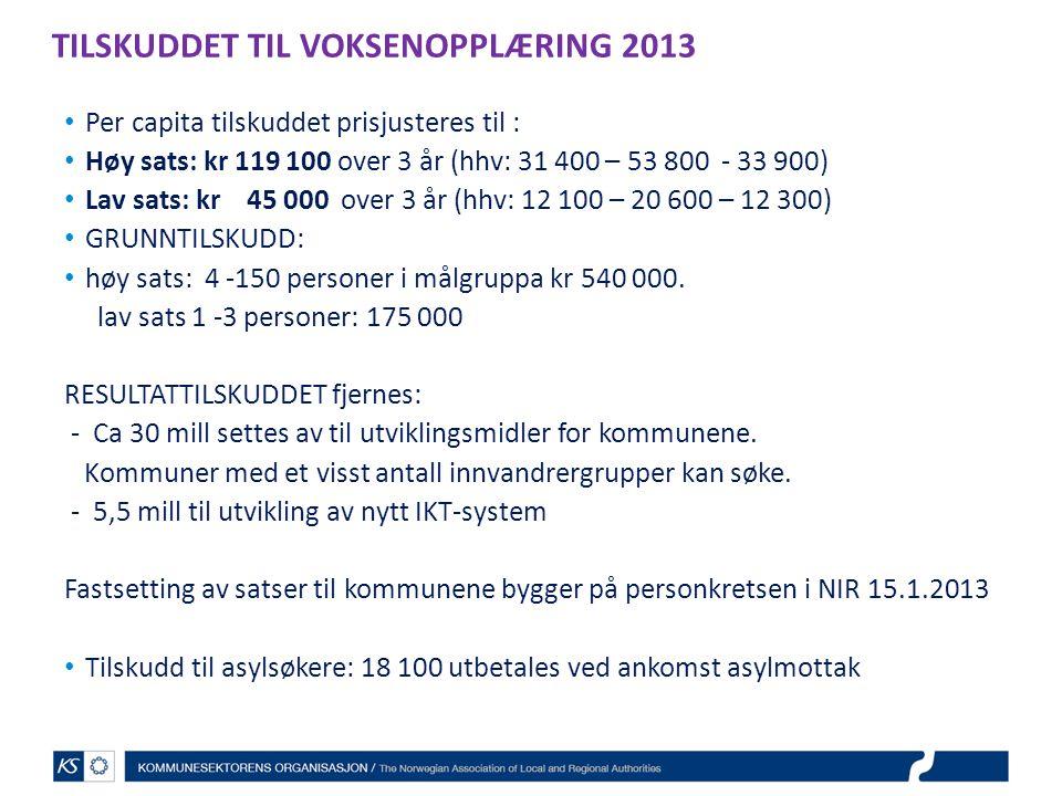 TILSKUDDET TIL VOKSENOPPLÆRING 2013