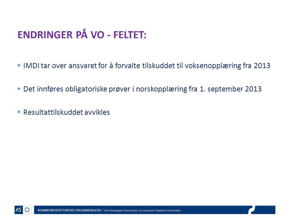 ENDRINGER PÅ VO - FELTET: