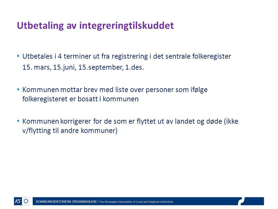 Utbetaling av integreringtilskuddet