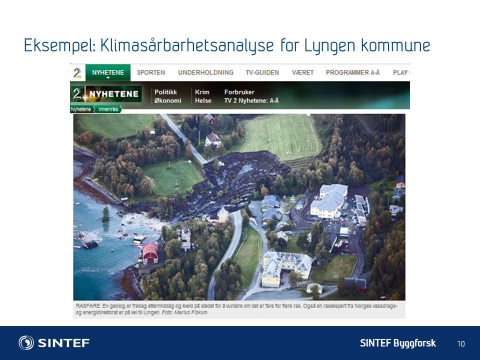 Eksempel: Klimasårbarhetsanalyse for Lyngen kommune