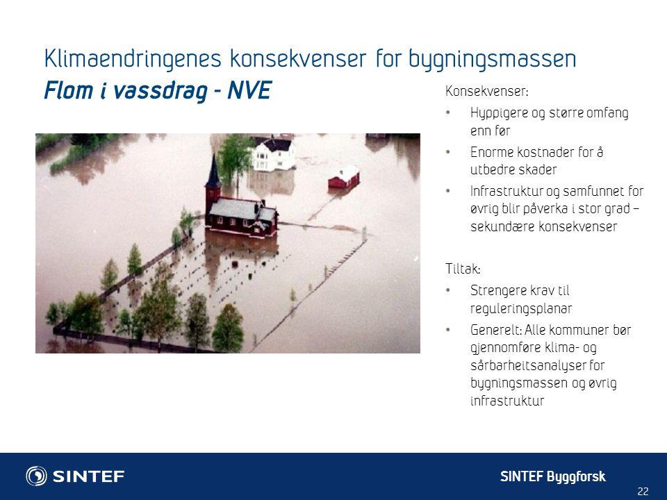 Klimaendringenes konsekvenser for bygningsmassen Flom i vassdrag - NVE