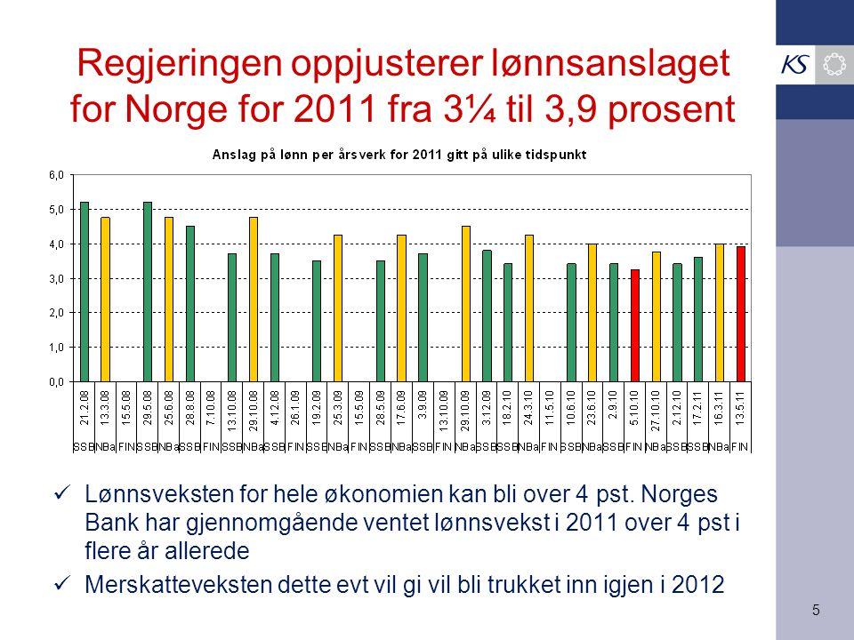 Regjeringen oppjusterer lønnsanslaget for Norge for 2011 fra 3¼ til 3,9 prosent