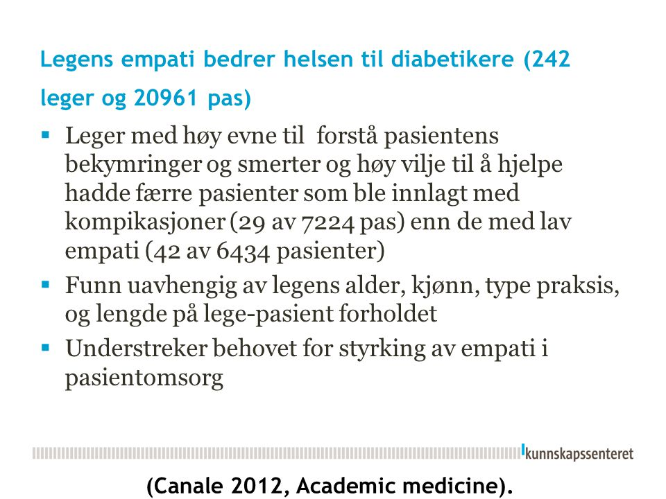 Legens empati bedrer helsen til diabetikere (242 leger og 20961 pas)