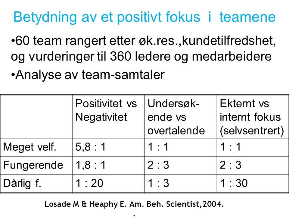 Betydning av et positivt fokus i teamene