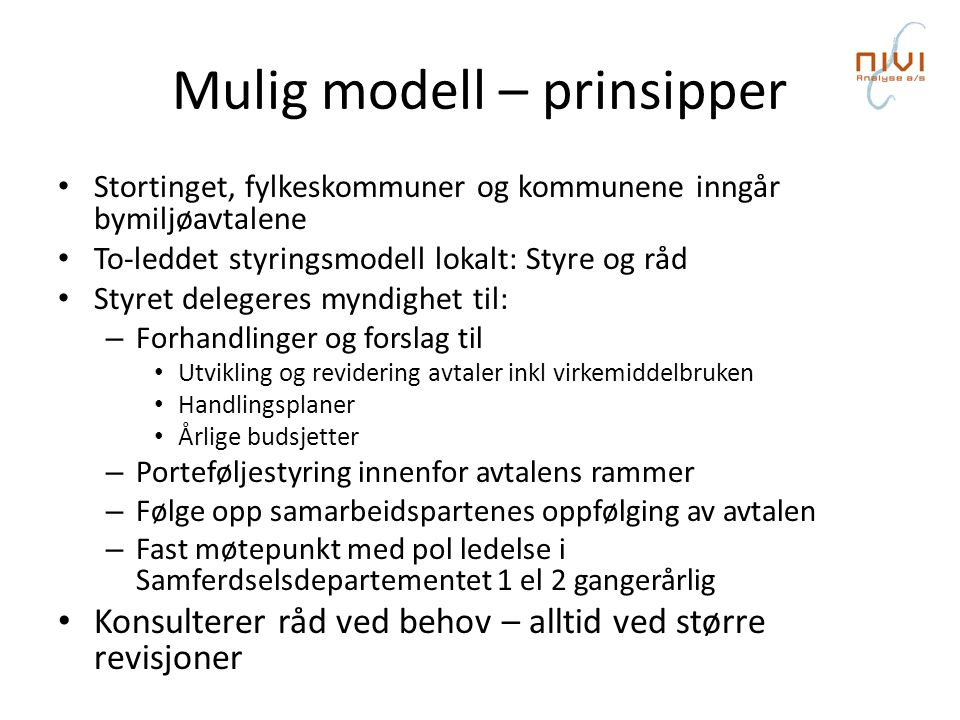 Mulig modell – prinsipper
