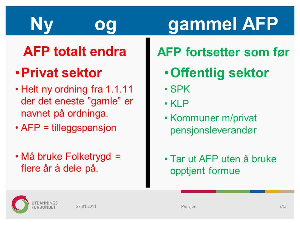 Ny og gammel AFP AFP totalt endra Privat sektor Offentlig sektor