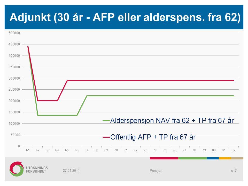 Adjunkt (30 år - AFP eller alderspens. fra 62)