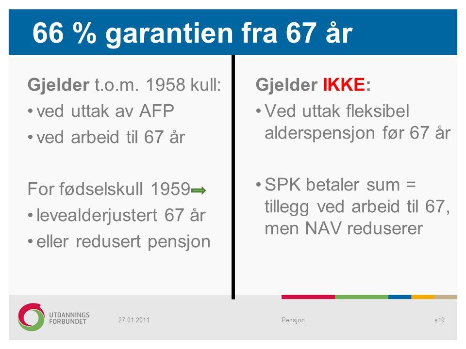 66 % garantien fra 67 år Gjelder t.o.m. 1958 kull: ved uttak av AFP