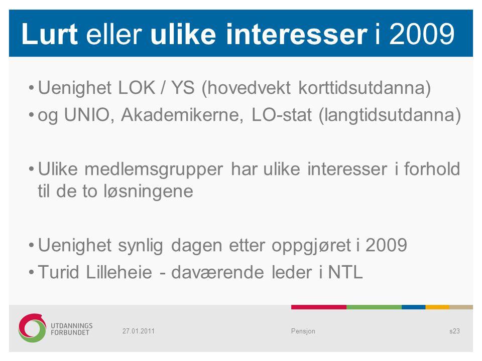 Lurt eller ulike interesser i 2009