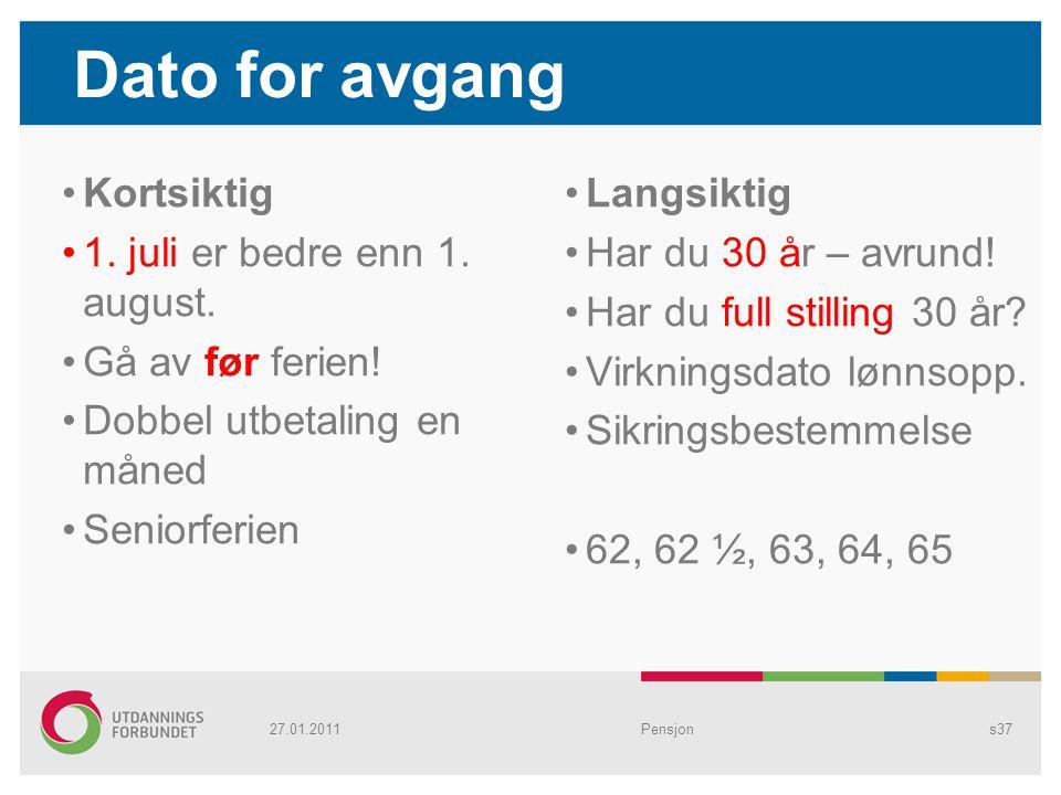 Dato for avgang Kortsiktig 1. juli er bedre enn 1. august.