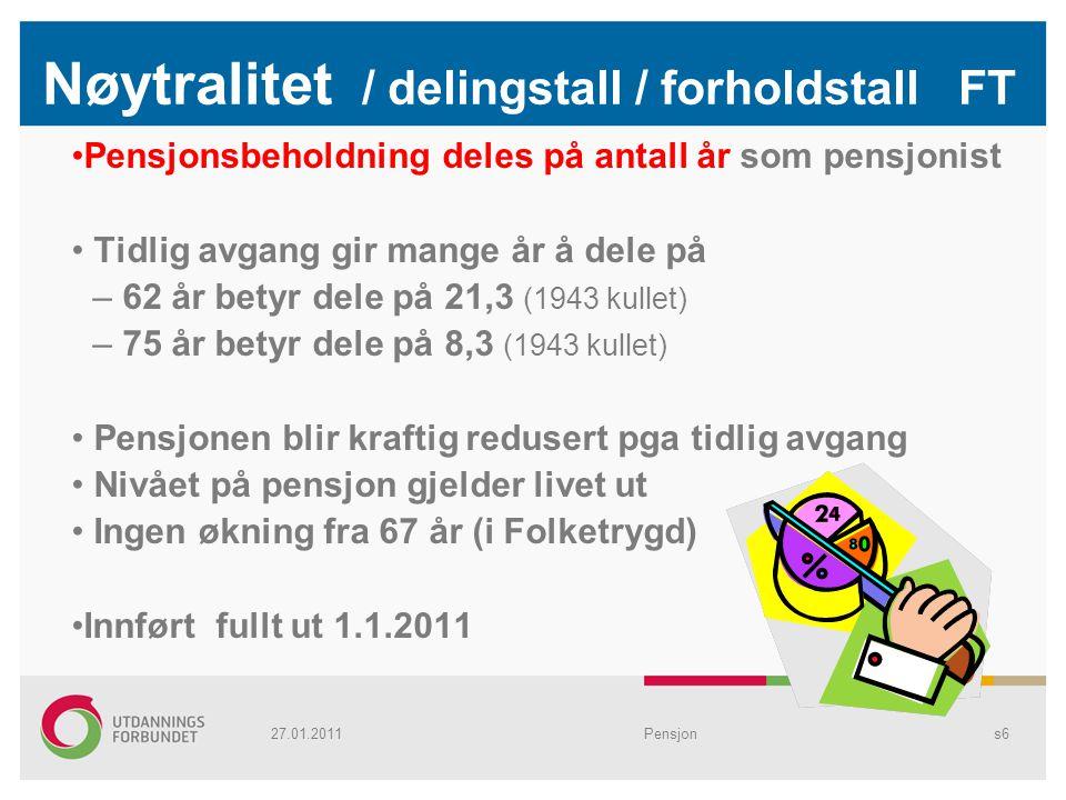 Nøytralitet / delingstall / forholdstall FT