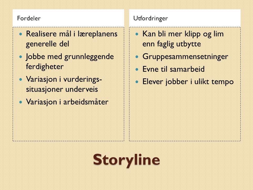 Storyline Realisere mål i læreplanens generelle del