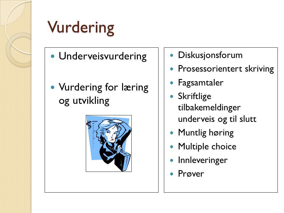 Vurdering Underveisvurdering Vurdering for læring og utvikling