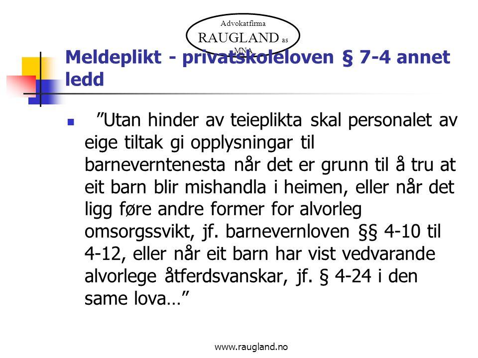 Meldeplikt - privatskoleloven § 7-4 annet ledd