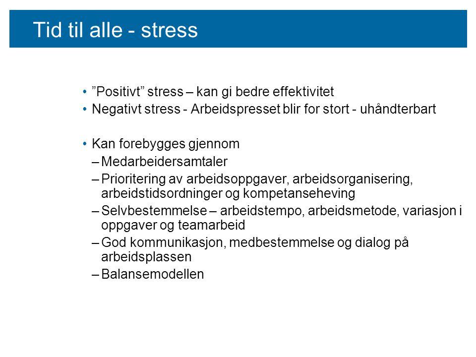 Tid til alle - stress Positivt stress – kan gi bedre effektivitet