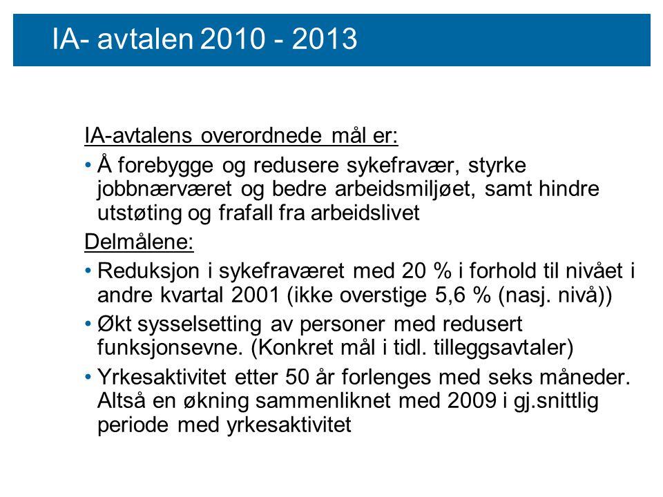 IA- avtalen 2010 - 2013 IA-avtalens overordnede mål er: