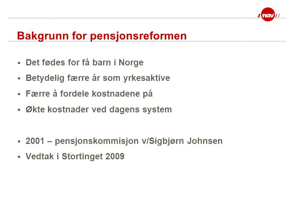 Bakgrunn for pensjonsreformen