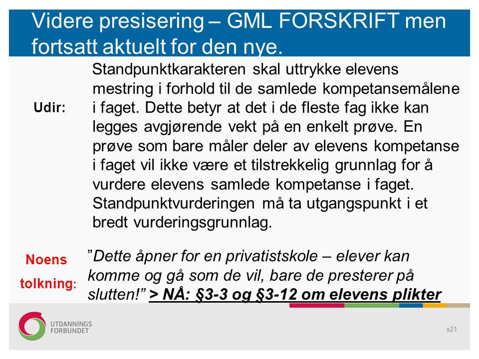 Videre presisering – GML FORSKRIFT men fortsatt aktuelt for den nye.