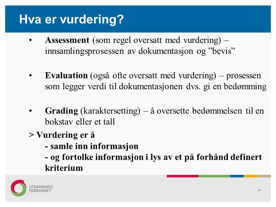 Hva er vurdering Assessment (som regel oversatt med vurdering) – innsamlingsprosessen av dokumentasjon og bevis