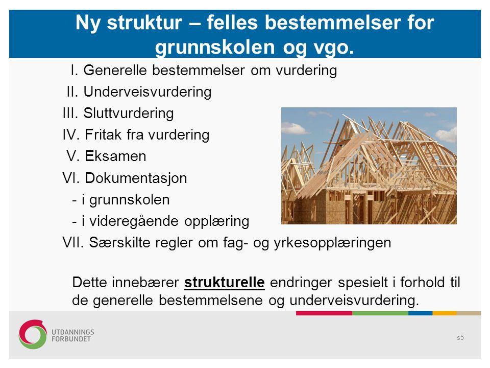 Ny struktur – felles bestemmelser for grunnskolen og vgo.