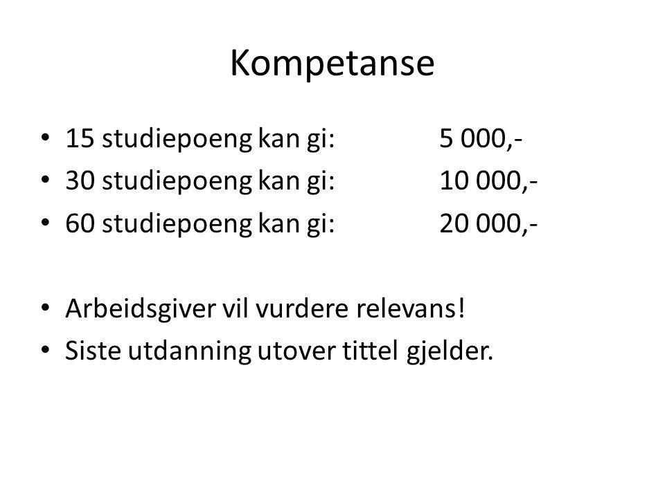 Kompetanse 15 studiepoeng kan gi: 5 000,-