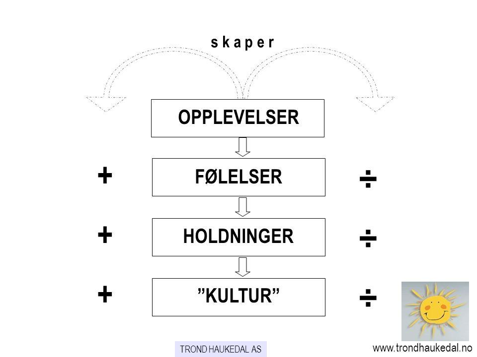 + ÷ OPPLEVELSER FØLELSER HOLDNINGER KULTUR s k a p e r