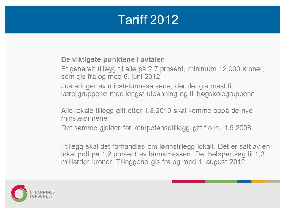 Tariff 2012 De viktigste punktene i avtalen