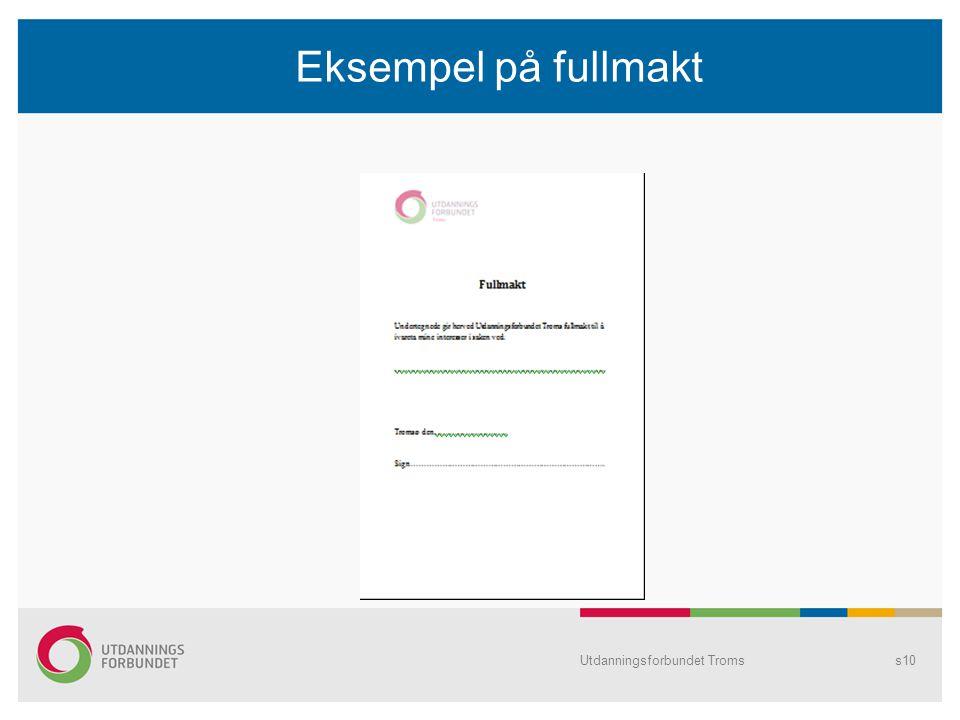 Eksempel på fullmakt Utdanningsforbundet Troms