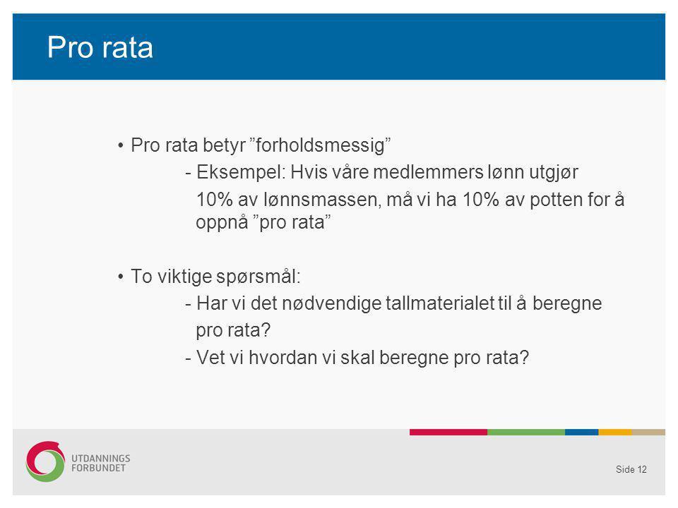 Pro rata Pro rata betyr forholdsmessig