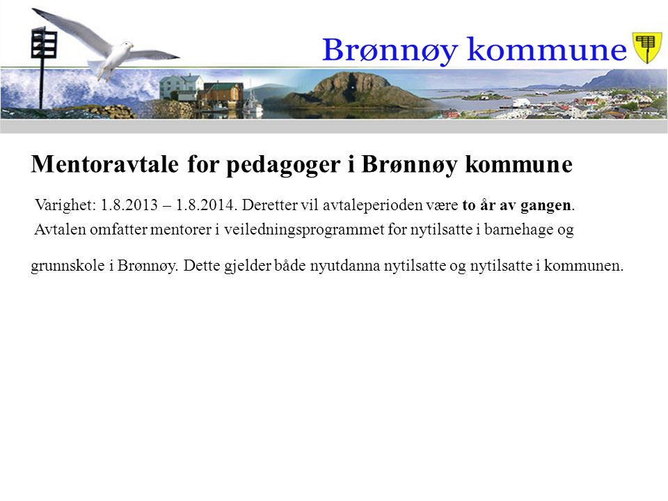 Mentoravtale for pedagoger i Brønnøy kommune