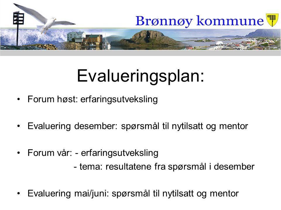 Evalueringsplan: Forum høst: erfaringsutveksling