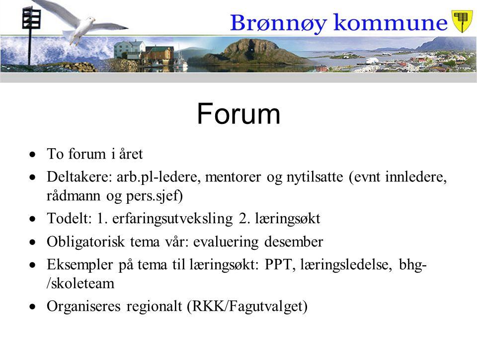 Forum To forum i året. Deltakere: arb.pl-ledere, mentorer og nytilsatte (evnt innledere, rådmann og pers.sjef)